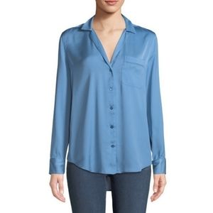 Equipment Keira Satin Button-Down Blouse S